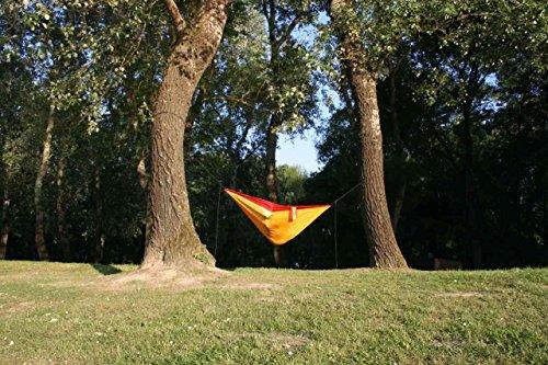 Camper Doppel – Leichthängematte aus Fallschirmseide gelb-bordeauxrot - 3