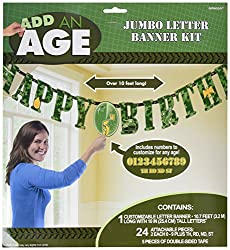 Amscan 3.2 X 25.4 Cm Camouflage Add An Age Letter Banner