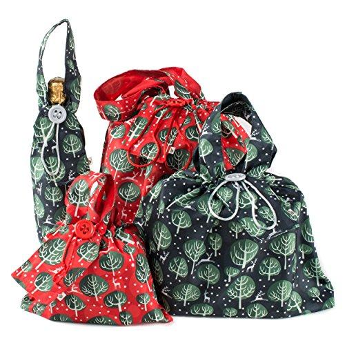 Wrag Wrap cgbpwtrb klein/mittel/groß'Winter Bäume' Weihnachten wiederverwendbar Stoff Geschenk Tüte–Rot Berry (4Stück)