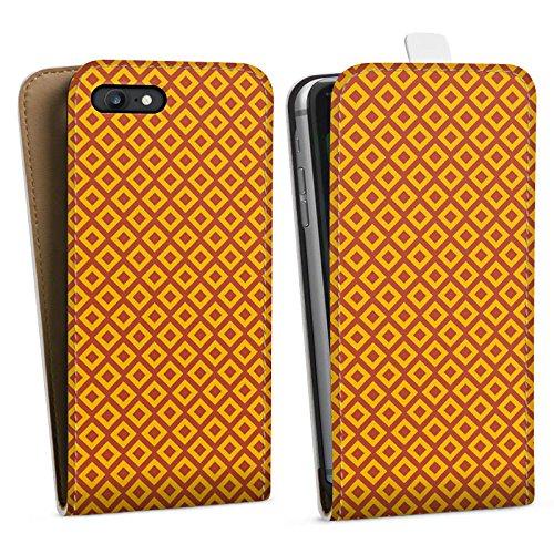 Apple iPhone X Silikon Hülle Case Schutzhülle Rauten Orange Muster Downflip Tasche weiß