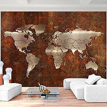 Fototapete Weltkarte schwarz weiß Wandbild Dekoration