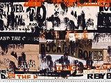 Viscosejersey, Vintage-Musik-Info, orange-mehrfarbig, 150cm