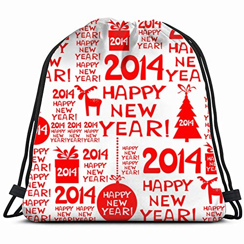 khgkhgfkgfk 2014 Happy New Year red Holidays Drawstring Backpack Gym Sack Lightweight Bag Water Resistant Gym Backpack for Women&Men for Sports,Travelling,Hiking,Camping,Shopping Yoga