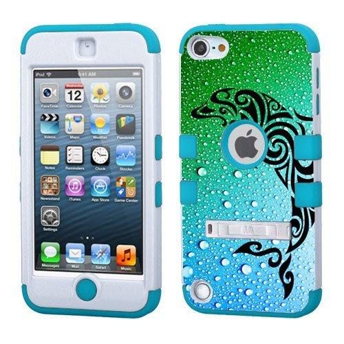 iPod Touch 5. 6. Generation Weiß Kunststoff/Blau Silikon 3-Stil Hybrid Hard Schutzhülle für Apple- für Mädchen und Boys-Shockproof Staubfrei, mit Ständer, Delfin