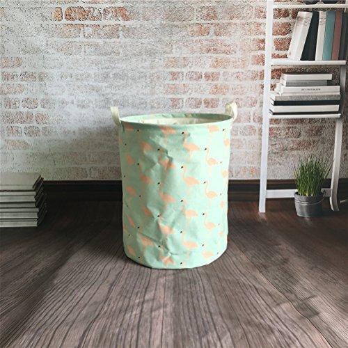 Inwagui Faltbar Stoff Wäschekorb Rund Wäschesammler Wäschesack Kinder Spielzeug Aufbewahrungstasche Laundry Basket (45 x 35cm)-Flamingo B (4 Faltbare Stoff Baskets)