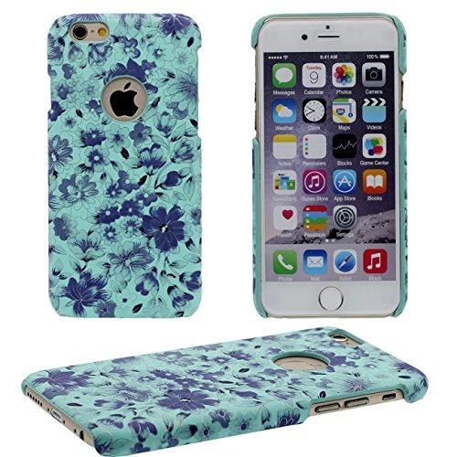 iPhone 6S Coque, Beau Fleur Peinture Série Coloré Élégant Style Mince Poids Léger Dur Housse de Protection Case pour Apple iPhone 6 / 6S 4.7 inch bleu
