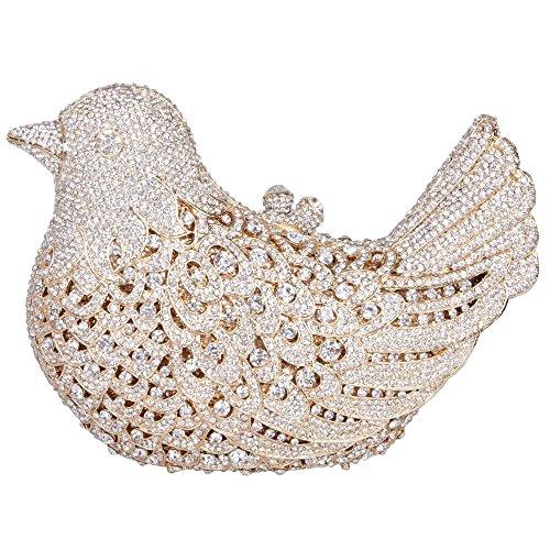 Borsa Da Sera Con Pochette Da Donna Borsa Con Strass Glitterata Borsa Con Strass Cristallo Uccello Con Catene Sostituibili Di Santimon (15 Colori) Oro