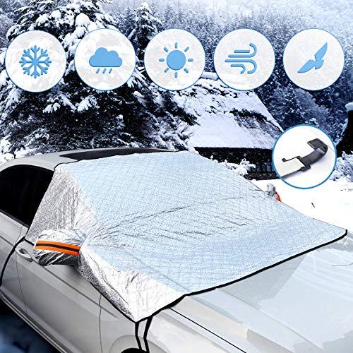 BACKTURE Protezione per Parabrezza, Auto Copertura Parabrezza con Magnete e Copertura specchietto retrovisore, Inverno Anti-Neve Impermeabile Anti-Gelo Auto Copriparabrezza (240 * 160cm)