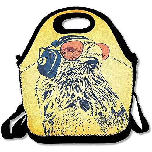 Lunchtasche mit Sonnenbrille und Kopfhörer, groß, dick, Neopren, isoliert, für Damen, Teenager, Mädchen, Kinder, Erwachsene