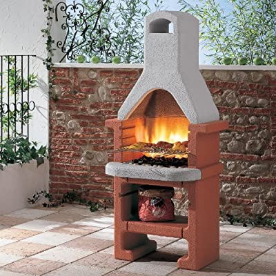 Fire Mountain Corea Masonry Barbecue with Stainless Steel 3 Level Grill, Tapered Flue and Storage Shelf for Wood or Charcoal by Fire Mountain