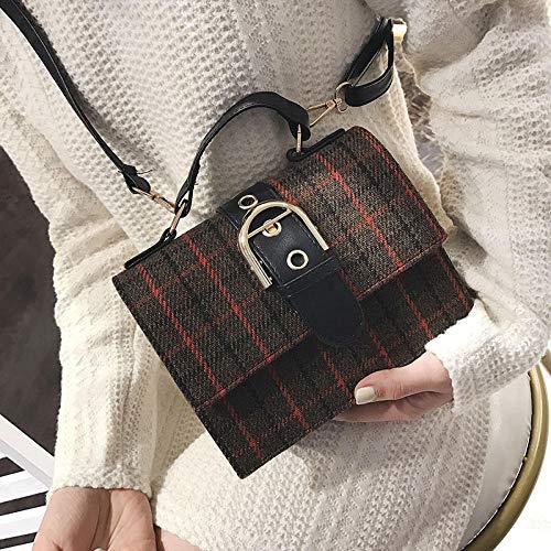 PerfectforU Schultertasche Messenger Bag Plaid Pack Britischer Wind Simple Wild Vintage @ Brown -