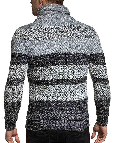 BLZ jeans - Pullover maille homme col roulé boutonné gris Gris
