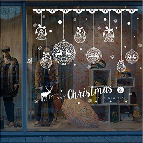 PAOLIAN Navidad Tienda Ventana Decoración Pared Extraíble Pegatinas Navidad Campanas Ciervos