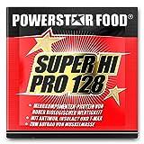 Unser Bestseller SUPER HI PRO 128 - Mehrkomponenten Power Protein Pulver - nach wissenschaftlicher Formel erstellt - höchstmögliche biologische Wertigkeit (Erdbeer-Vanille, 30 g Probebeutel)