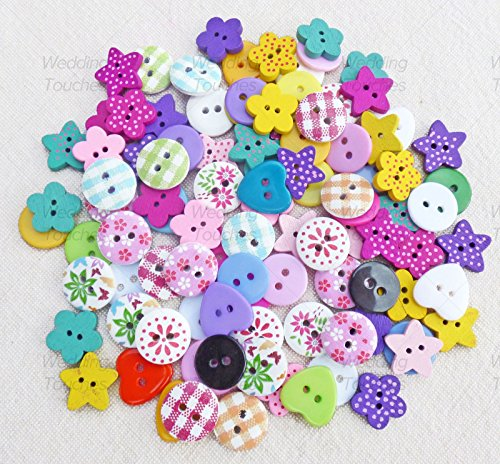 100pcs-mix-wooden-acrylic-buttons-for-craft-cardmaking-embellishments