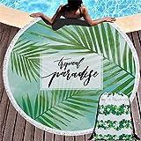 Rundes Strandtuch zum Sonnenbaden, tragbare Picknickdecke, Yogamatte, Tischdecke, Sporttuch, Quaste Badetuch, A6, 150 * 150cm