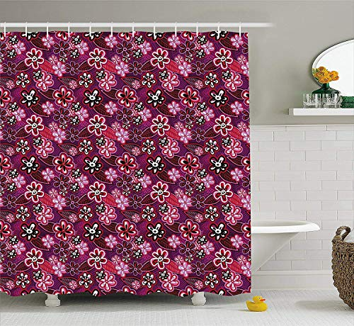 HiExotic Duschvorhang Whimsy Flower Shower Curtain Sets Modern Design Watercolor Decor with Floral Leaf Seemed Ombre Print,Non-Toxic Waterproof Decor,Purple White Pink and Black,60X72In