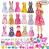 114 Pcs Doll Clothes Party Gown Outfits And Accessories for Barbie - 16 Pcs Party Dresses and 98 Pcs Bikes Shoes Household for Girl Birthday Gift