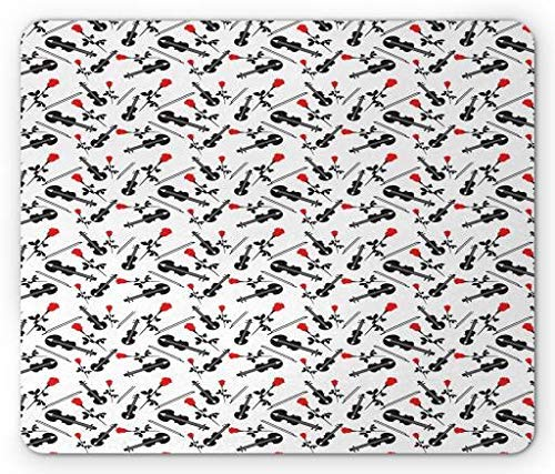 Pad, Romantic Musical Concept Silhouette of Viola Icons Bow and Red Roses, Standard Size Rectangle Non-Slip Rubber Mousepad, Black White Scarlet ()
