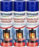 Heitmann Kamin Glasreiniger, 3er Pack (3 x 500ml) + Davartis Schmutzradierer/Putzschwamm 10er Pack (1 x 10 Stk.)