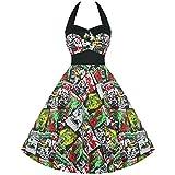 Hell Bunny B Película Mujer 50s B película Horror Rockabilly Prom Party disfraz de excelente calidad verde verde 46 XXL