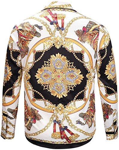 ... Pizoff Herren Luxus Langarm Golden Hemden mit Baroque-Motiven Y1792-22  ...