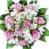 Lila-weißer Rosenstrauß mit Alstromerien - Blumenstrauß