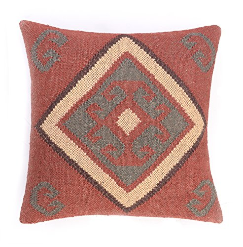 Handmade Vintage Kelim Kissenbezug 45,7 x 45,7 cm, handgewebter Jute-Teppich, Kissenbezug, rustikales Kissen -