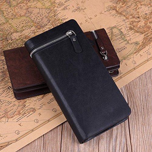 1 x Lange Brieftasche für Männer –PU / Kreditkarten Halter / Faltbarer Geldbörse / Brieftasche / Tasche mit Reißverschluss - Retro Linien & Braun Retro Linien & Schwarz