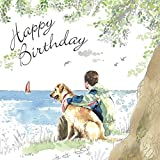 twizler Happy Birthday Karte für Ihn mit Grün & Silver folieren, Einzigartige Wasserfarben Effekt–Hund, Strand und Segeln–Stecker Geburtstagskarte