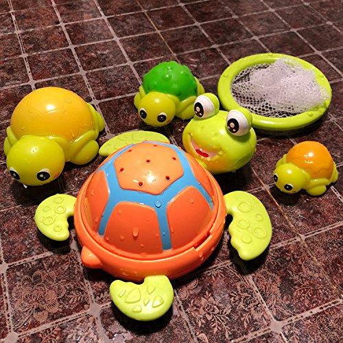 YOIL Set von 4 Stück Kinder Cartoon Niedlichen Tier Badewanne Badezimmer Bad Squirt Spielzeug Wasser Spielen Spielzeug 4 Schildkröte + Net Angeln