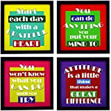Indianara 4 Piece Set Of Framed Wall Hanging Motivational Office Decor(1148) Art Prints 8.7 Inch X 8.7 Inch Without Glass