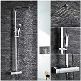 HOMELODY Badezimmer Thermostat Bar Hand Dusche Rainhead Rainshower showerset Bad Einhebelmischer, Dusche Set Kit