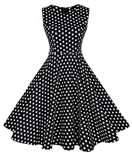 Rockabilly kleid 50s Polka Dot Schwarz petticoat kleid GR.32 34 36 38 40 42 44 (40, Schwarz-2)