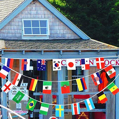 Sayala 2 Stück Women's World Cup 2019 International String Flag Flaggen der Welt Wimpel Banner für Grand Opening, Bar, Sportvereine, Party-Events Dekoratione