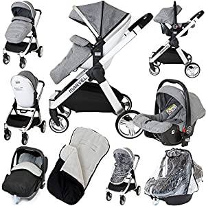 Marvel 2in1 Pram - Dove Grey (+ x2 Footmuff + x1 Car Seat Raincover) Babystyle Suitable from birth - 20kg Ideal for twins or close-in age siblings Independent lie-flat reclining seat units,Compact fold, Includes raincover 4