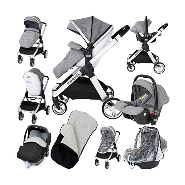 Marvel 2in1 Pram - Dove Grey (+ x2 Footmuff + x1 Car Seat Raincover) iSafe Includes Free Carseat Raincover + Carseat Footmuff + Stroller Footmuff Complete With Free Raincover For Seat Unit Complete With Free Boot Cover 1