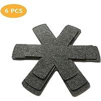 KunFu Mall   Protezioni antigraffio per padelle  6 pezzi  antiscivolo  separatori e per proteggere le superfici di pentole  grigio  3 misure