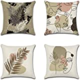 Artscope Set of 4 Decorative Cushion Covers 45x45cm, Abstract Human Face and Plant Pattern Waterproof Throw Pillow…