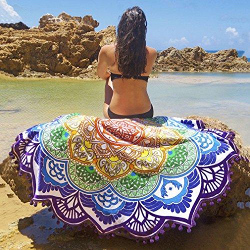 Magnífica Mandala Tela playa ICOCO Tapiz redonda de algodón de colores bonito suave como tapete, mantel de mesa, para decoracion de baño, sofa, hogar - púrpura, 147 x 147cm