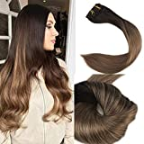 Full Shine 14 Zoll 100gram 10 Pcs Balayage Haarverlängerung Klips Extensions Farbe #2 Fading to Farbe #8 Aschbraun Remy Echthaar Clip in Extensions
