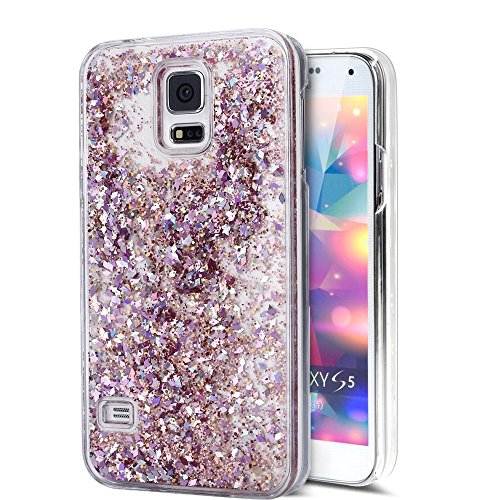 Galaxy S5 Hülle,EMAXELERS 3D Kreative Bling Glitzer Liquid Fließen Flüssig Transparent Bling Hart PC Hardcase Hüllen Case Cover Für Samsung Galaxy S5,Pink Diamond