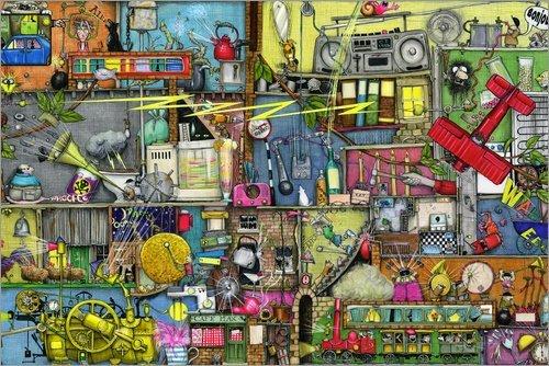 Posterlounge Leinwandbild 180 x 120 cm: Lautstärke von Colin Thompson/MGL Licensing - fertiges Wandbild, Bild auf Keilrahmen, Fertigbild auf echter Leinwand, Leinwanddruck