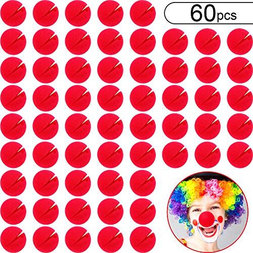Kostüm Party Schaum - Boao 60 Stücke Rot Clown Nasen Cosplay Nasen Schaum Zirkus Nasen für Halloween Weihnachten Karneval Kostüm Party Ankleiden