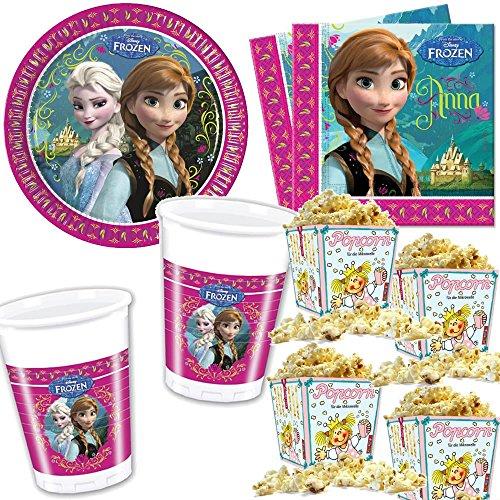 Preisvergleich Produktbild 40-teiliges Set * FROZEN - DIE EISKÖNIGIN * mit Pappteller + Servietten + Becher + Popcorn für Kindergeburtstag