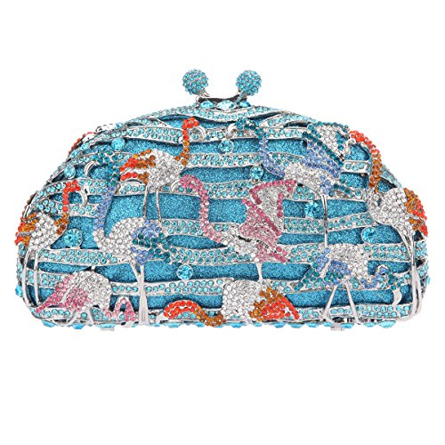 Bonjanvye Crane Pattern Handbag Kiss Lock Clutch and Purse for Girls Blue Blue
