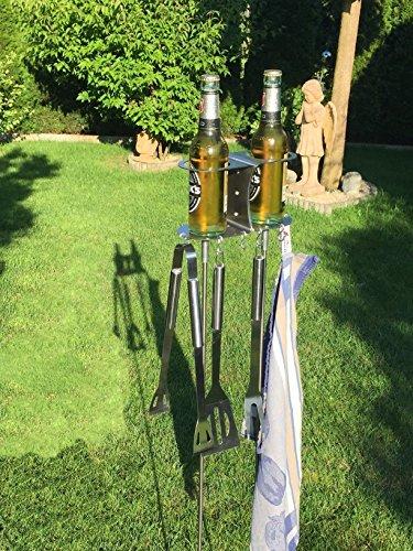 61DlzHus8eL - 2er Flaschen- und Grillbesteckhalter Bierhalter aus Edelstahl Handarbeit