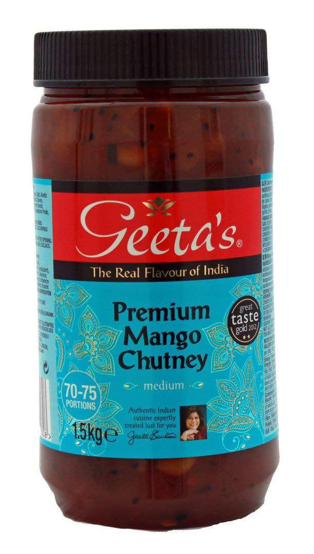 Geeta's Premium Mango Chutney Medium 1.5kg Indian Food Home Work Caterers Cafes 1