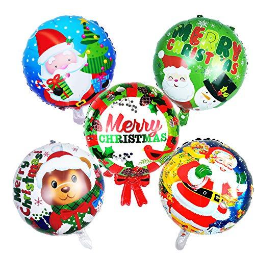 Bumen 5 Stück Weihnachtsfeier Dekoration, Birthday Party Supplies Neue Jahre Party Helium Folienballons, Dekor Garland Bunting Banner und 45x45CM Latex Party Ballons Pack von 5 Folienballons