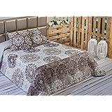 Algodón Blanco Benisa - Colcha bouti estampada, para cama de 150 cm, 250 x 270 cm, 2 fundas de cojín, 60 x 60 cm, color beige